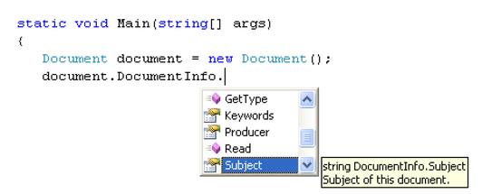 Visual Studio NET Code Intellisense